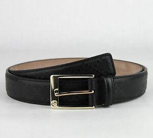 comprar online 536eb b29c5 Detalles de Gucci Hombre Diamante de Imitación Negro Estampado Cinturón de  Cuero Con