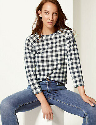 Ex M/&S Navy Check Stretch Jersey Top 3//4 Sleeve Wide Boat Neck Sizes 8-20