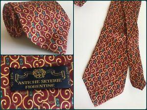 Vtg-Antiche-Seterie-Red-amp-Gold-Horse-Stirrup-Sporting-Italian-Luxury-Neck-Tie-60