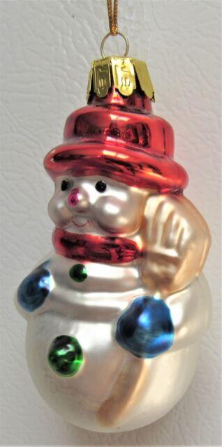 THOMAS PACCONI GLASS CHRISTMAS ORNAMENT SNOWMAN | eBay