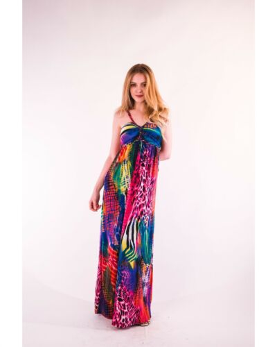 Vibrant colors contrast Animal Print Maxi Dress holiday beach party wear