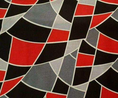 Blackjack BTY Unbranded Geometric Print Black Red Gray Off-White