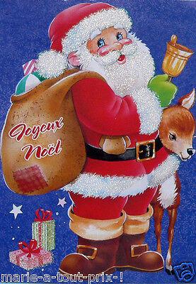 Belle Carte postale de JOYEUX NOEL père noël avec ses cadeaux brillants + envel | eBay