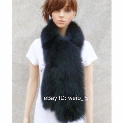 Womens Brand New Real Genuine Mink Fur Scarfs Scarves Muffler Wraps Black White