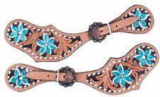 Teal Flower Hand Painted Genuine Leather Western PAIR Ladies Spur Straps