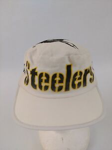 Vintage-80s-Pittsburgh-Steelers-Painters-Cap-Hat-OSFA-White-NFL-Football-Flaw