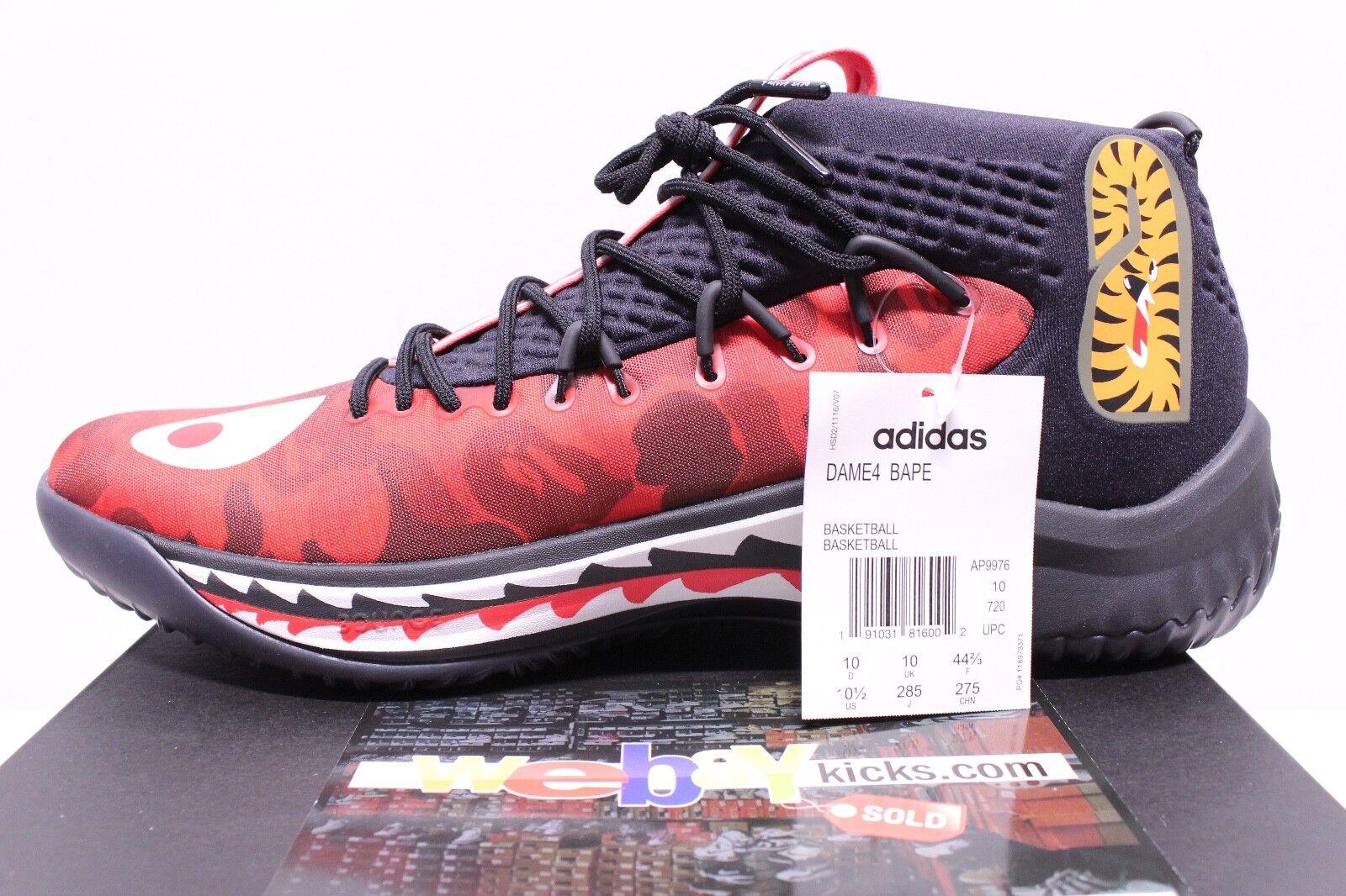 Adidas ein gefüllter affe bape dame 4 4 4 damian lillard rote camo männer größe 10,5 neue 45bef0