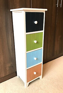 Details about 4 Drawer Multi Colour Storage Unit Tall Slim Cabinet  Childrens Bedroom Retro
