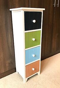 4 Drawer Multi Colour Storage Unit Tall Slim Cabinet
