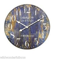Provence Wall Clock Blue 23 Round Gallery French Country Distressed Wood Paris