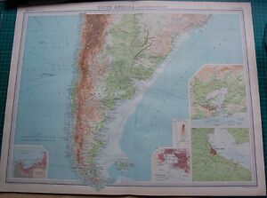 1922 LARGE ANTIQUE MAP- SOUTH AMERICA-SOUTHERN SECTION