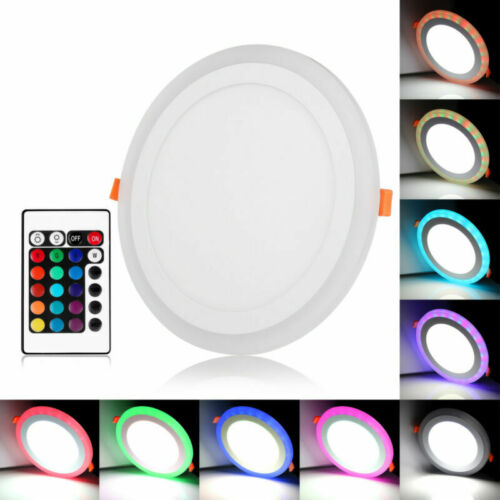 Ultra Slim RGB White Dual Color LED Recessed Ceiling Panel Downlight Spot Lamp