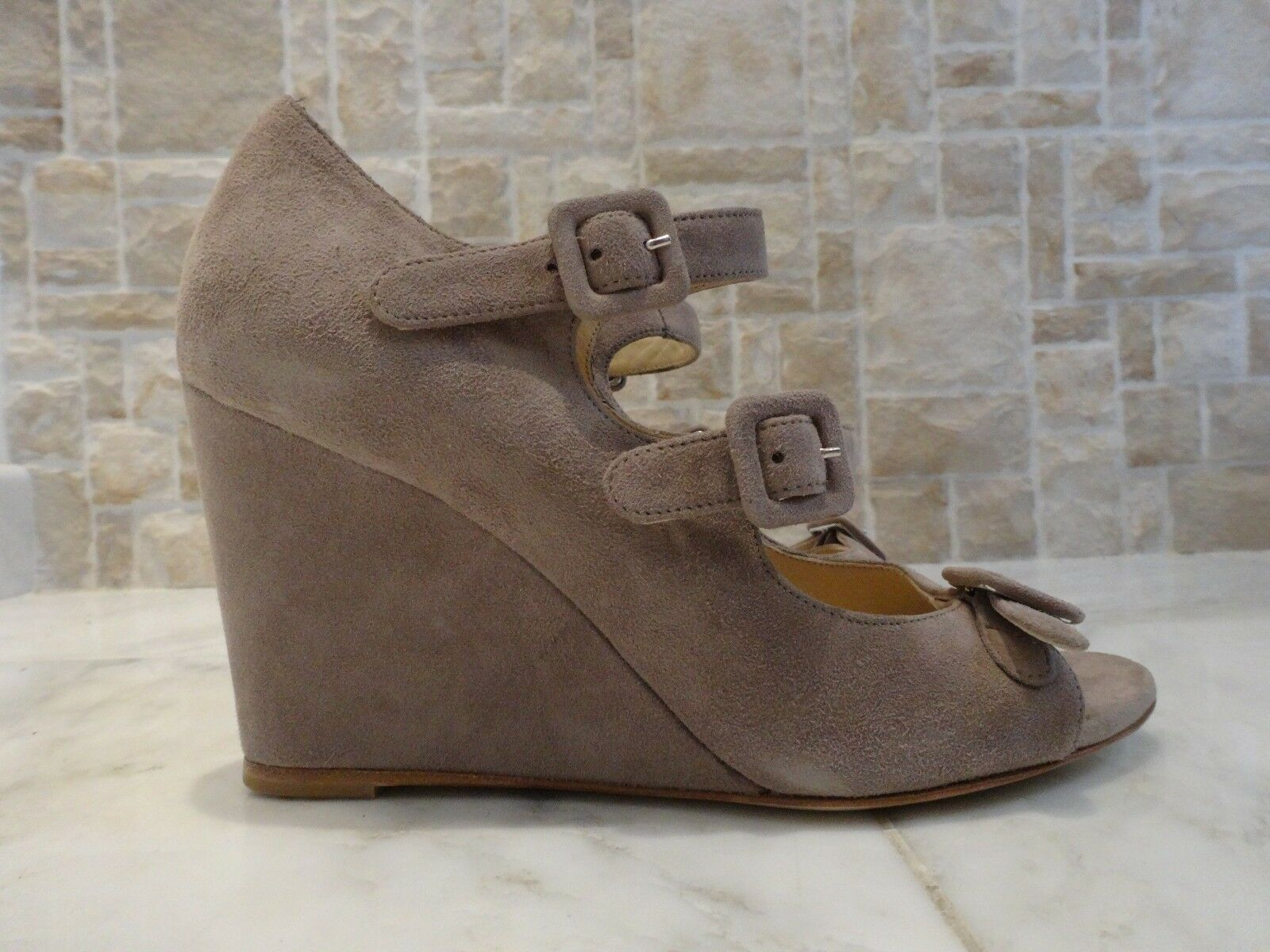 Marvin K. Suede Gray Wedge Shoes US-7M EUR-37M MSRP 8 Made in Italy