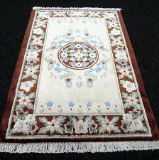 Seidenteppich China Seide 88 x 63 cm Braun Beige Orient Teppich Carpet Rug Tapis