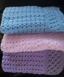hand crocheted baby blanket 28x28,with cap,you choose color,baby shower gift!