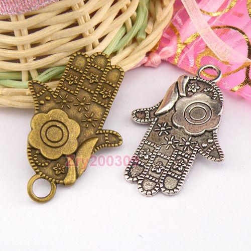 6Pcs Tibetan Silver,Antiqued Bronze Hand Flower Charms Pendants M1260
