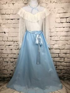 Vintage-Prairie-Dress-1970-039-s-Boho-Long-Sleeves-Lace-White-and-Baby-Blue-sz-11-12