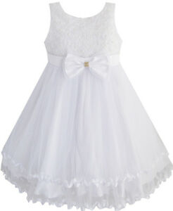 Girls-Dress-White-Pearl-Tulle-Layers-Wedding-Pageant-Flower-Girl-Kids-Age-2-10