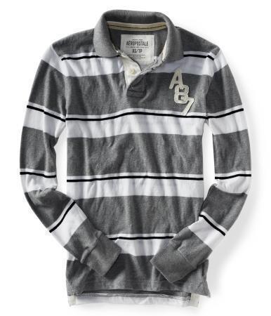 Aeropostale Mens Gray White Striped Rugby Polo Shirt Style 2057 XS S M L XL XXL