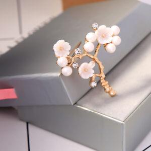 Broche-Pin-Dore-Branche-Arbre-Fleur-Nacre-Perle-Blanc-Simple-Retro-XZ7