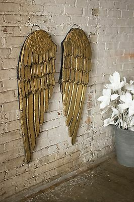 Stunning Large Wood Gold  Angel Wings Wall Decor Shabby Chic Cottage