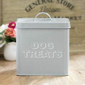 Original Rétro Gris Dog Treats Nourriture Conteneur De Stockage Titulaire Biscuits Barrel Tin Pot Couvercle-afficher Le Titre D'origine Haute Qualité