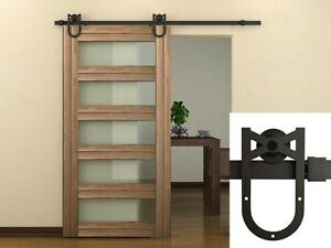6 FT Dark Coffee American Antique Horseshoe Barn Wood Sliding Door Hardware Set