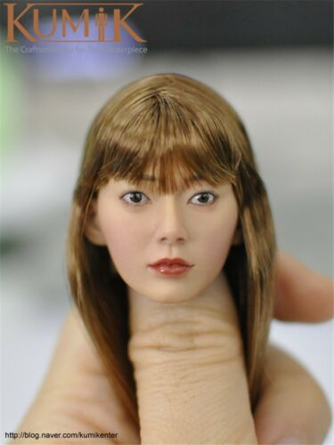 """KUMIK KM16-94 Planted Hair Asian Lady Head Carving Fit 12/"""" Female Action Figures"""
