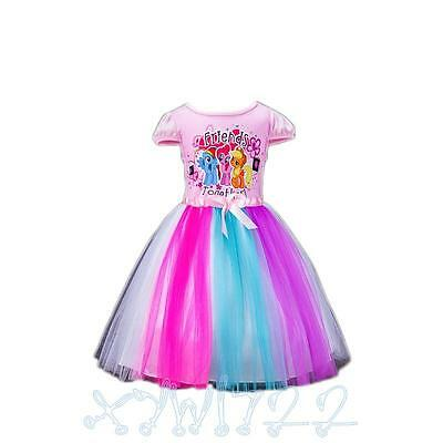 New Arrival Kids Girls Rainbow Dash My Little Pony Tutu Dress Party Dress 3-8Y