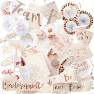 Team Bride Party Hen Night Pink Rose Gold BRIDE TO BE Sash Accessory Decoration