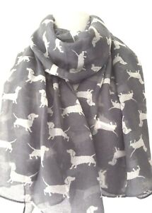 Ladies Long Scarf Mauve with Black and Cream Cute Sausage Dog Dachshund Scarve