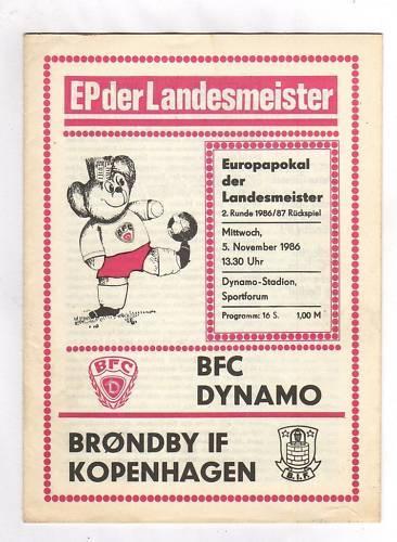 BRÖNDBY IF PRG     EC 1    86//87    BFC DYNAMO BERLIN