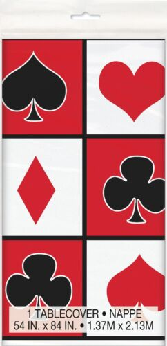 CASINO PARTY PLASTIC TABLE COVER ~ Birthday Supplies Decorations Cloth Poker
