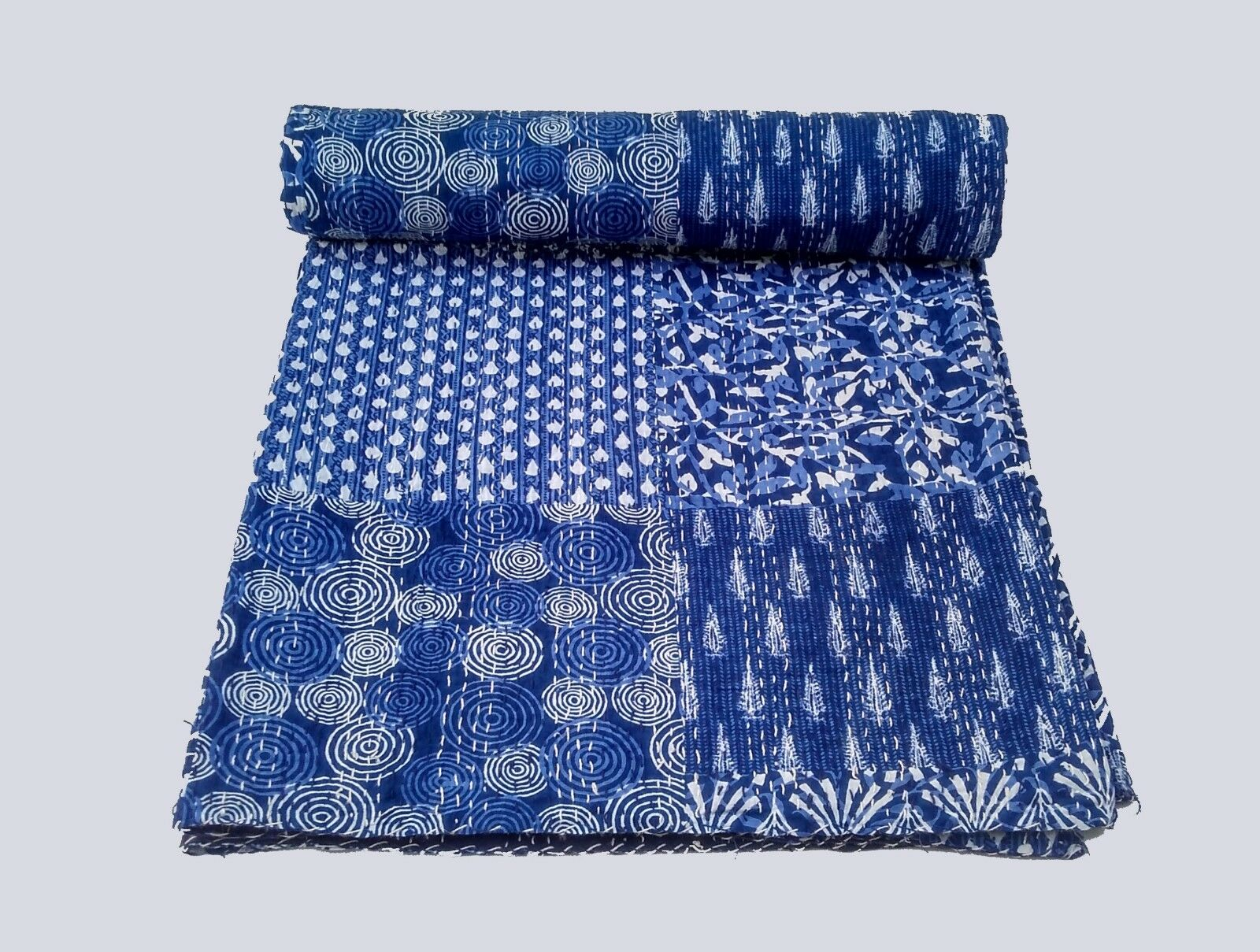 Handmade Indian Kantha Quilt Indigo blueeee Blanket Gudari Quilt Kantha Throw Queen