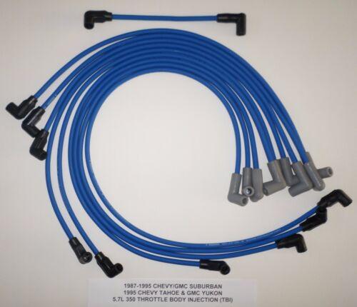 1987-1995 CHEVY//GMC SUBURBAN TAHOE YUKON 5.7L 350 TBI BLUE 8MM Spark Plug Wires