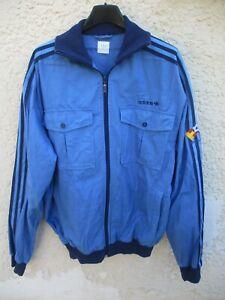 Veste-ADIDAS-ESPANA-82-retro-vintage-jacket-giacca-jacke-felpa-bleu-L