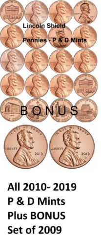 SEE PROMOTION Complete Set of All 2010-2019 P/&D BU Lincoln Shield Cents