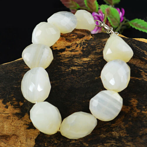 394.00 Cts Natural 8 Inches Long White Quartz Faceted Untreated Beads Bracelet