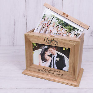Personalised Wooden Mr Mrs Photo Album With Sleeves Wedding Day