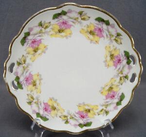 M-amp-Z-Austria-Large-Pink-amp-Yellow-Roses-amp-Gold-Cake-Plate-Circa-1884-1909