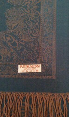 Vert et marron clair à motifs Cashmere Wrap//Écharpe