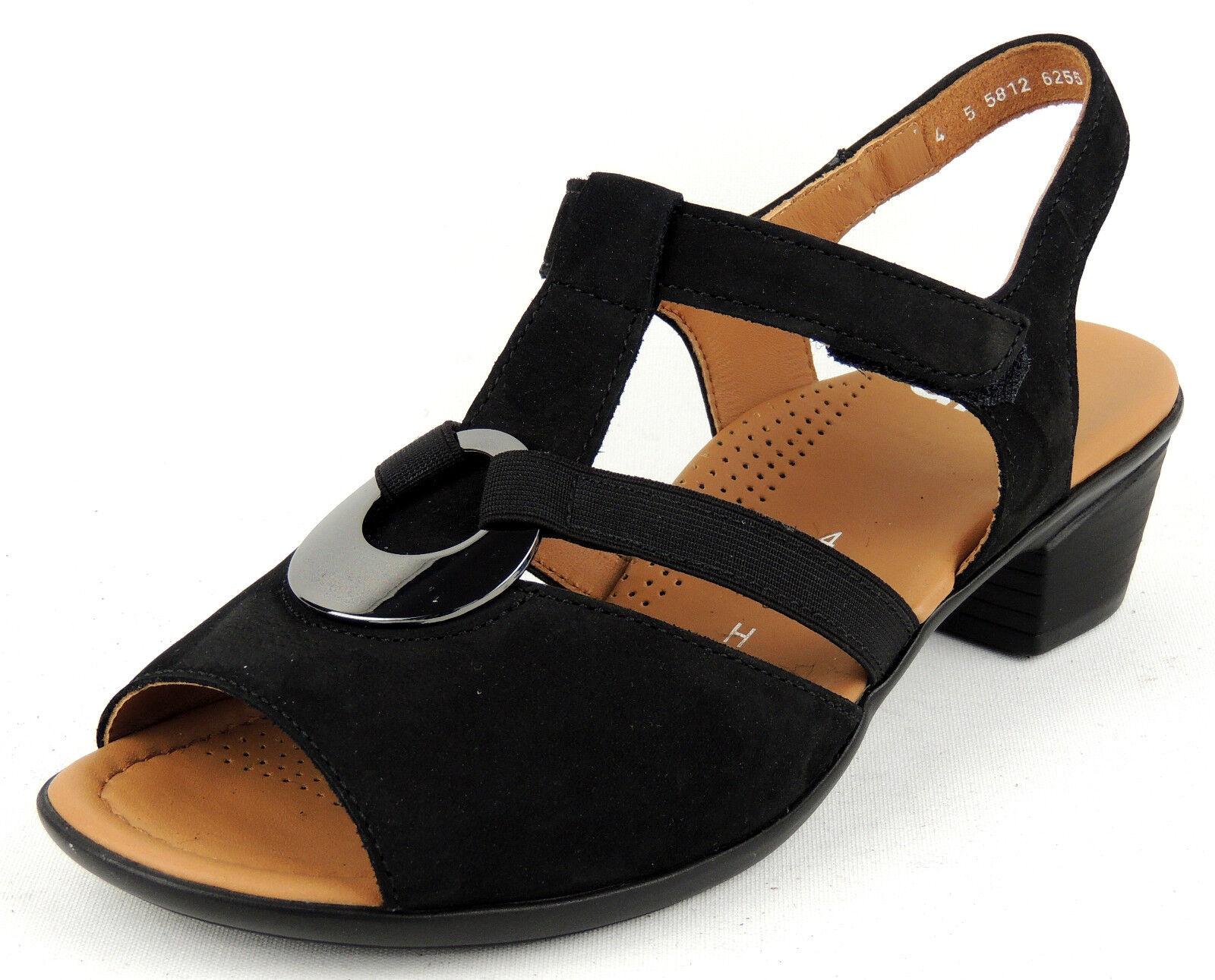 Ara Femmes Sandale Largeur H Semelle Souple Velcro Noir Complet en cuir
