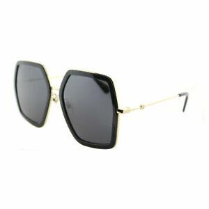 Gucci-GG0106S-001-Gold-Black-Metal-Square-Sunglasses-Grey-Lens