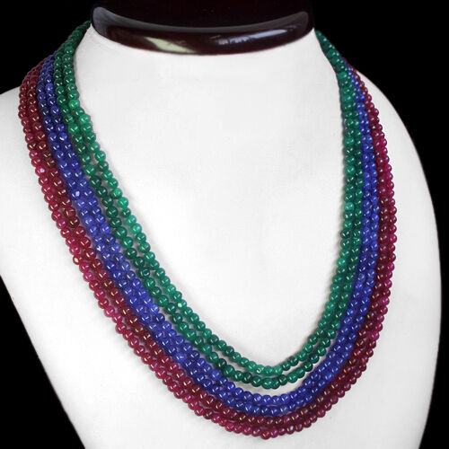 FINEST QUALITY 426.00 CTS EARTH MINED RUBY EMERALD /& SAPPHIRE BEADS NECKLACE