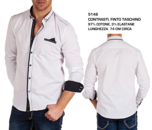 Camicia Uomo Colletto alla Coreana a Manica Lunga Elegante Slim Fit Fashion Moda