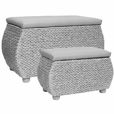 HARTLEYS TWIN STORAGE TRUNK/STOOL BEDDING/BLANKET RATTAN WICKER BOX/BENCH/SEAT
