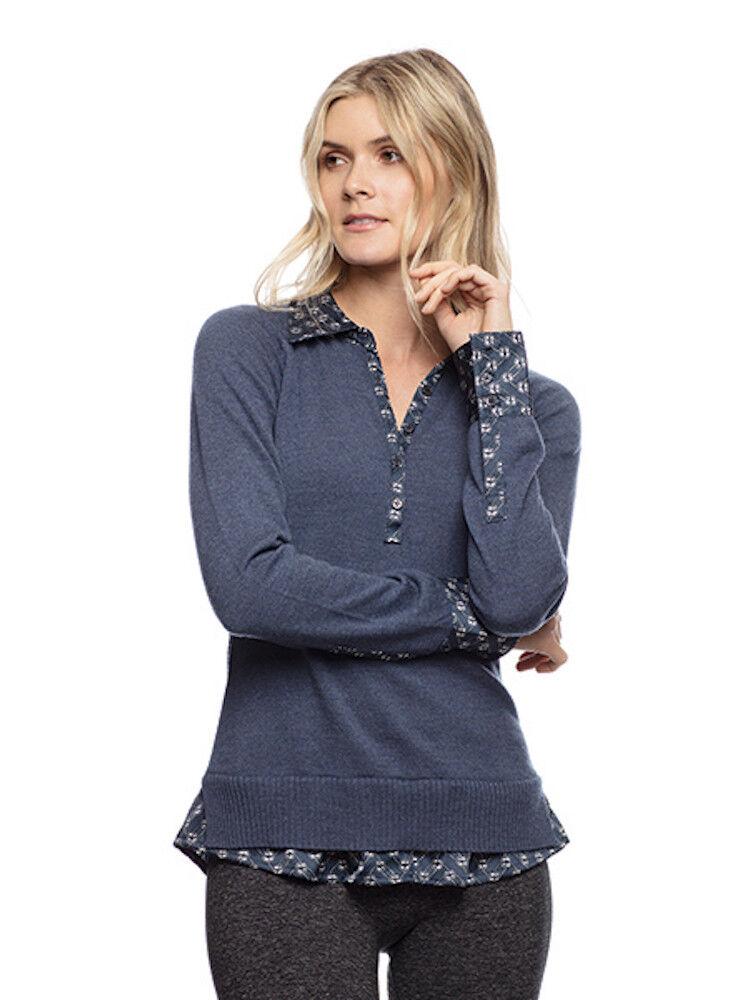 Goode Rider Posh Polo Sweater -Indigo Heather -L