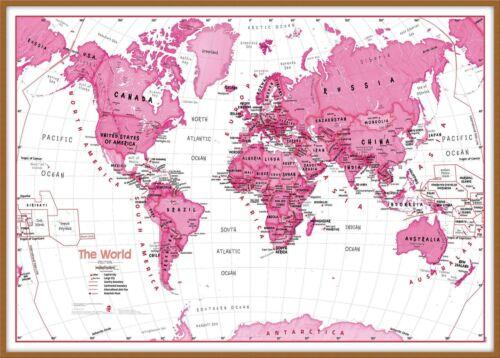 Kunst für Kinder Weltkarte des rosa Plakat-Wand-Kunst Größe /& Finish-Optionen