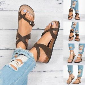 Femmes-Cheville-Sangle-Sandales-Bout-Ouvert-Tongs-d-039-ete-Chaussures-Plates