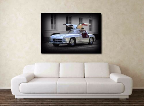 Wall Print Framed Picture Art 1955 Mercedes 300 SL Gullwing 30x20 Inch Canvas